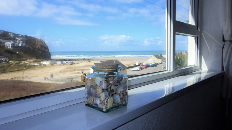 The view from the couch! - Beachside apartment, wide open sea & sunset views - Porthtowan - rentals