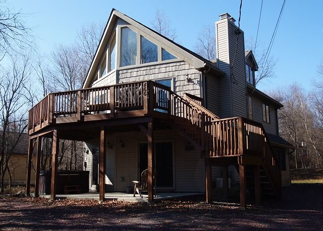 "Front of Home - ""Black Bear"" Beautiful Mountain Chalet w/ Hot Tub, 500 Feet From Lake, Pool. - Albrightsville - rentals"