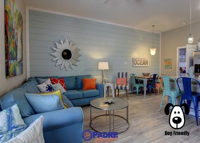Spacious first floor living area open to the kitchen and dining area - Padre Beach View 237 is the Ultimate N. Padre Island Vacation Rental - Corpus Christi - rentals