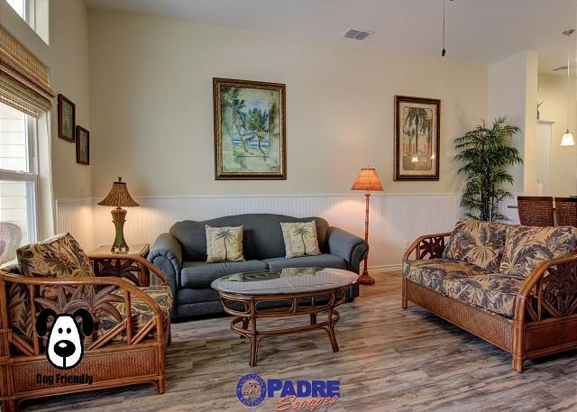 Living area with sleeper sofa for two additional guests to sleep on - Come relax and Enjoy some Island-Time at this beautiful new poolisde property - Corpus Christi - rentals