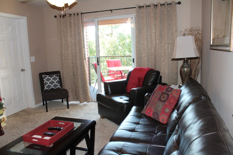 Queen sized sleeper sofa,large arm chair, small additional chair. - Branson Updated 2 Br/2 Ba WalkIn Condo/Indoor Pool - Branson - rentals