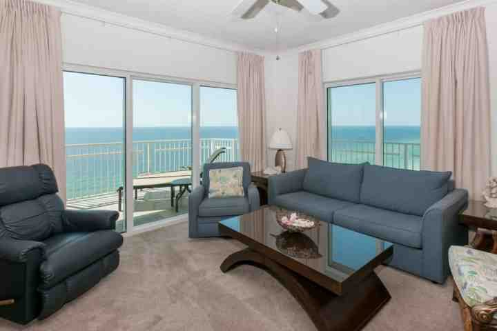Be amazed by this stunning view of the gulf from this modern and cozy living room! - Crystal Shores West 1008 - Gulf Shores - rentals