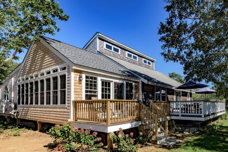 Deck, Yard and Side of House, all new sun room with living and dining area - BLACJ -  Long Point Beach House,  All New Master Suite,  Expansive Sun Porch - Martha's Vineyard - rentals
