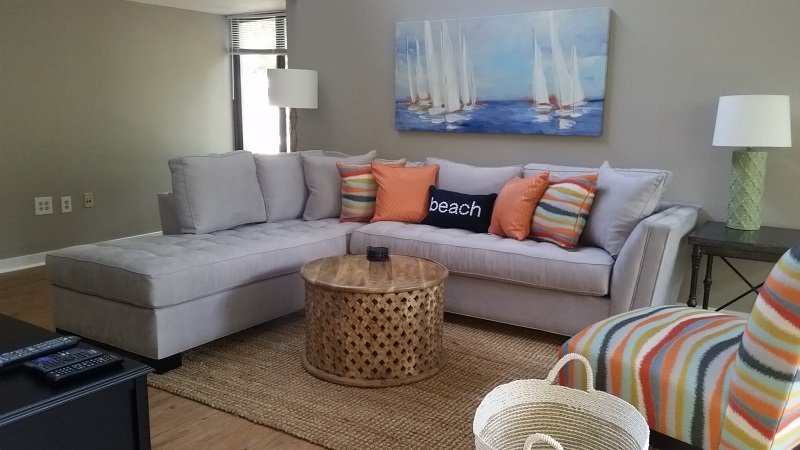 The large living room is newly furnished and provides comfortable seating. - Quiet South Forest Beach Villa, 2BR,Walk To Beach - Hilton Head - rentals