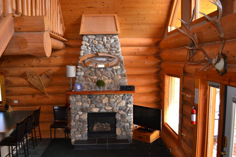 Front room and fireplace - Spectacular Mountain Views,Large Chalet for Family - Yoho National Park of Canada - rentals