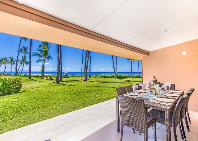 Oceanfront living on the Lanai - Spacious Newly Remodeled 4 Bdrm Oceanfront Unit in Premium Puamana Location - Lahaina - rentals