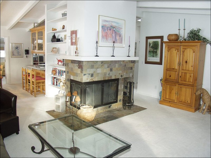 Living Room with Wood Burning Fireplace - Aspen West End Home - Quiet Neighborhood (3964) - Aspen - rentals