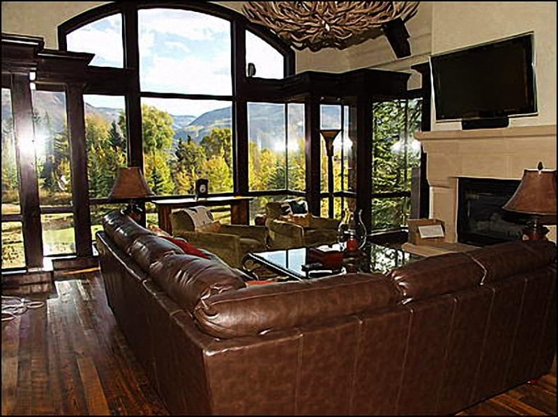 Living Room with Views - Stunning Golf Course Home - Views of golf course and slopes! (4143) - Aspen - rentals