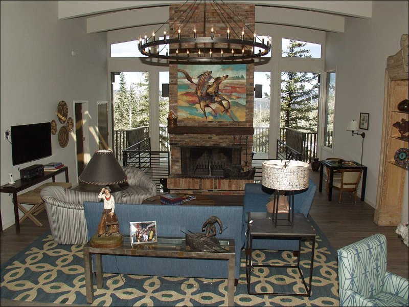 Large living room with brick fireplace and views! - Newly Remodeled Home (2015) - Large Decks with Views (7593) - Snowmass Village - rentals
