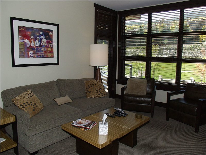 Living Room with Fireplace and views - Hayden Lodge  - Views of the slopes and village (9418) - Snowmass Village - rentals