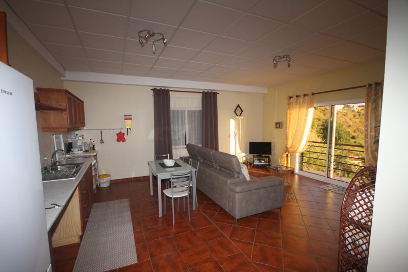 Interior as seen when entering from the garage - note the sliding door onto the balcony - Apartment Miradouro - Calheta - Alojamente Local T1 - Calheta - rentals