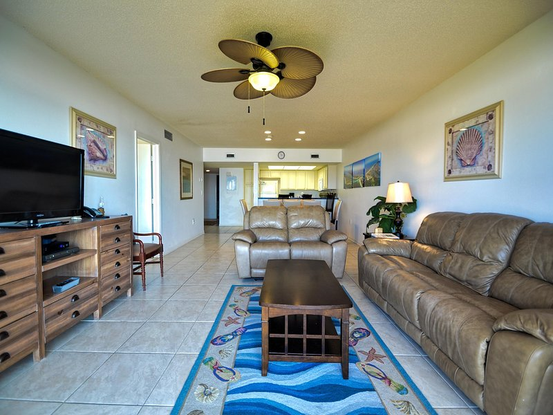 Great room is large and makes fun conversation space - Surfside Condos 202 Beachfront Condo - Clearwater Beach - rentals