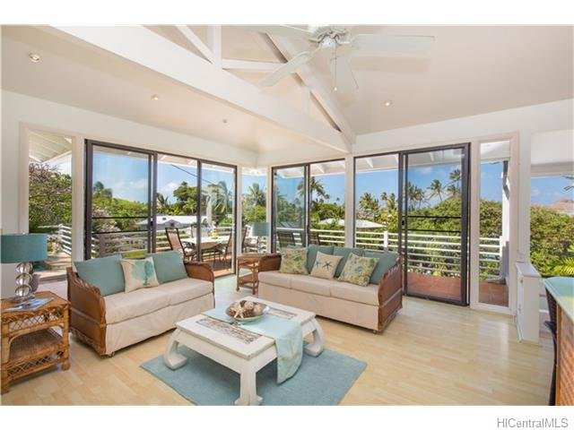 Living room and wrap around lanai - Lanikai - Ocean View Beachside Home - Kailua - rentals