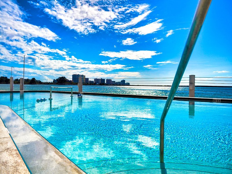 Waterside heated pool is a bonus. - 440 West Condos 408 N Gulf and Beach Views - Clearwater Beach - rentals