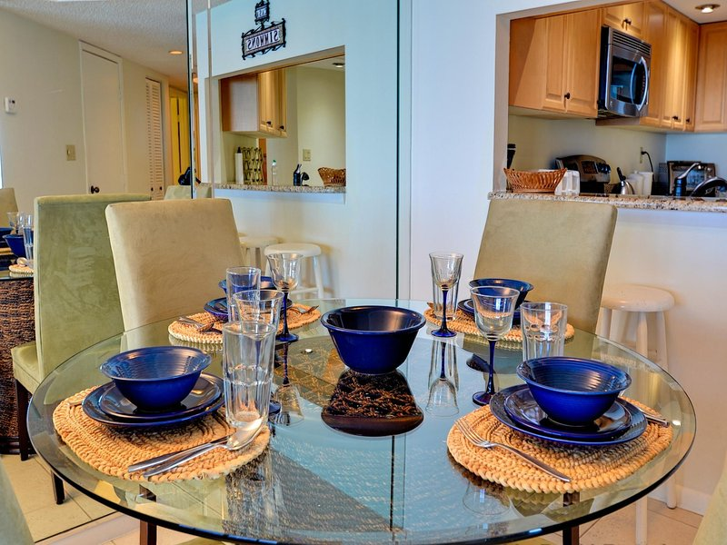 Seating for four at the dining table - Crescent Beach Club  14B Beachfront Condo - Clearwater Beach - rentals