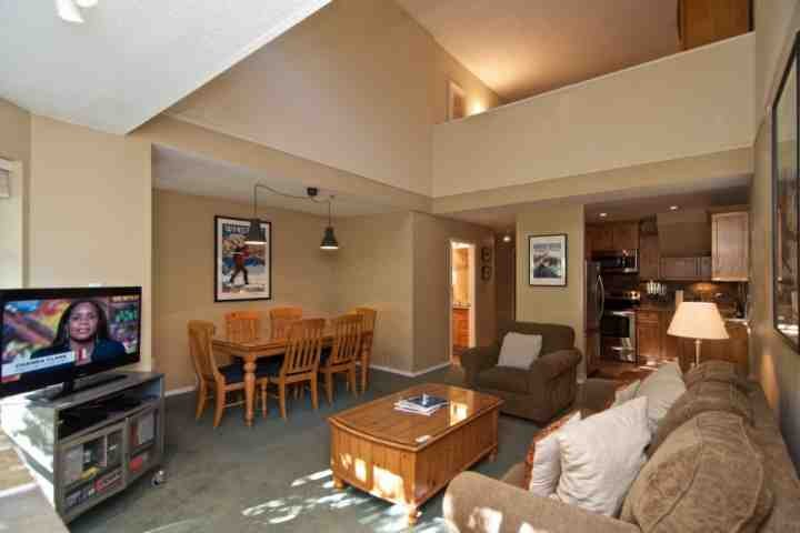 Open beautiful plan ...note upper loft in top of photo - Glacier Lodge condo with loft sleeps 6, unit 334 - Whistler - rentals