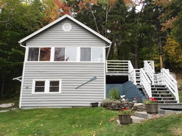 Front of cabin that faces the Lake - #148 Hillside home with access to Moosehead Lake & overlooking the mountains - Rockwood - rentals