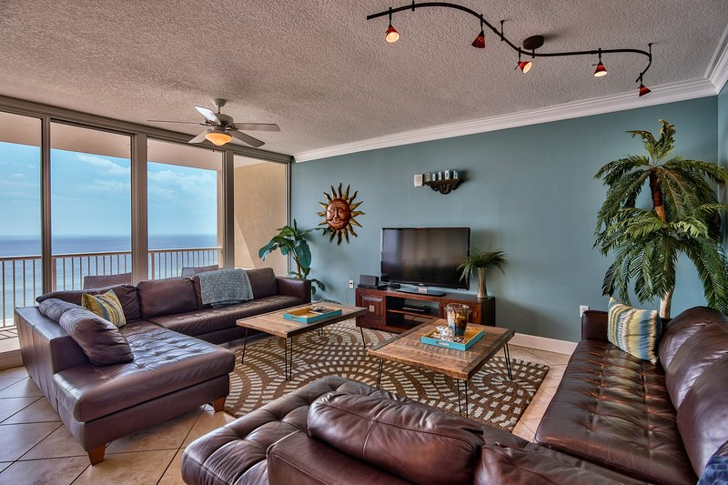 SPACIOUS main room, open concept, SONOS speaker, free wi-fi, leather sectionals - Holy Guacamole - Jaw Dropping Views, Walls Glass, Gulf AND Lagoon - Gulf Shores - rentals