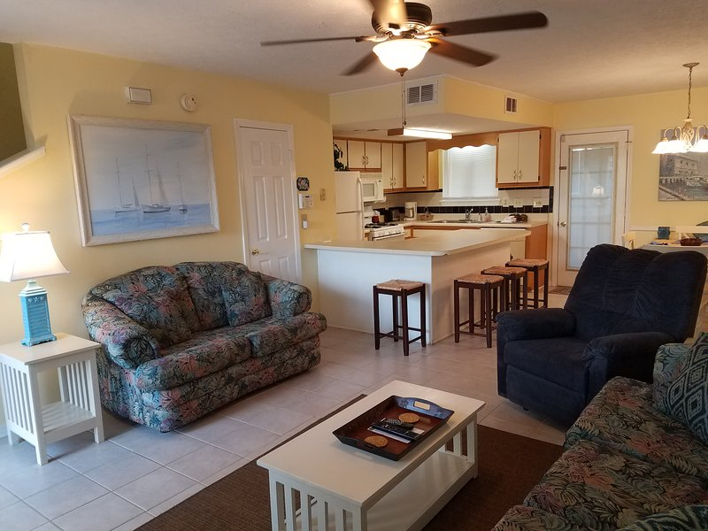 Spacious living room with sofa, loveseat & recliner with half bath - 2BR Condo in Gulf Highlands Resort- Book Now!! - Panama City Beach - rentals