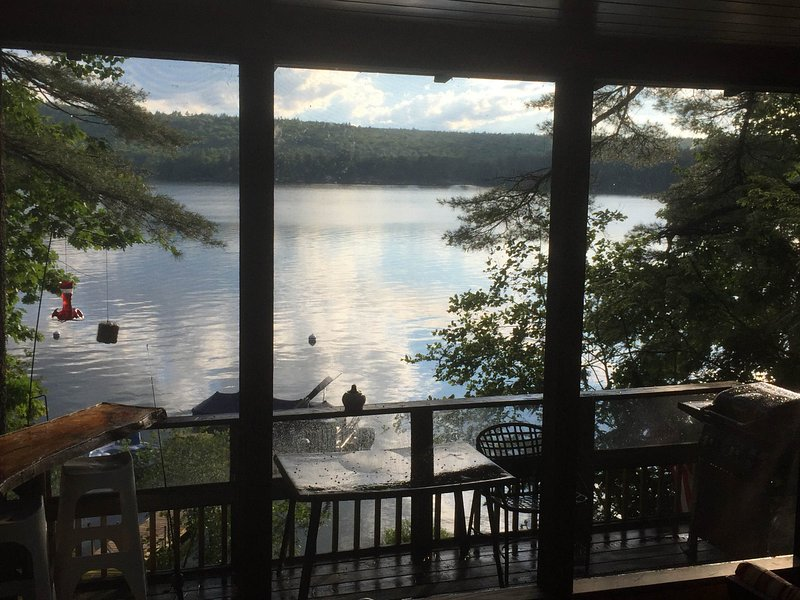 great views from the screened porch overlooking fire pit, deck and BBQ area - Waterfront Log Cabin style home on Thompson Lake! - Oxford - rentals