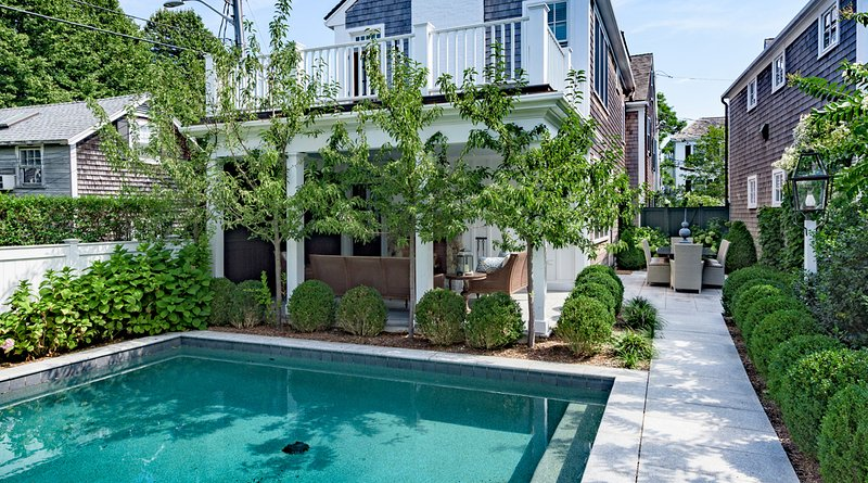 Courtyard Pool with Granite Patio Surround - ALLNW - Historic Luxury Retreat with Pool, Village Location, Walk to In-town Beaches,  Steps to Main St, Gourmet Dining, Boutique Shops - Chappaquiddick - rentals