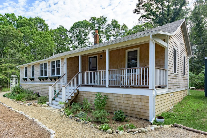 Front of House with Summer Porch - ARMSA - Cozy Newly updated Seashore Cottage,  East Chop Highlands Area - Oak Bluffs - rentals