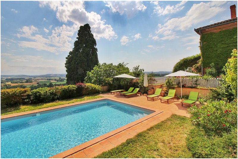 swimming pool with the sunbathing  - House with swimming pool, panoramic view - Toulouse - rentals