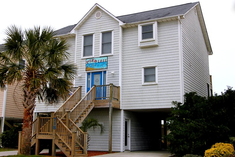 Street Side of Pierless - Direct Ocean Front Gracious Home! - Surf City - rentals