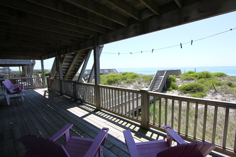 First Floor Covered Deck - Direct Ocean Front Gracious Home! - Surf City - rentals