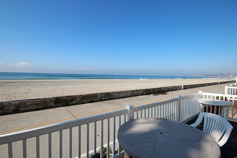 What a great view!  Imagine having coffee here every morning. - Ocean Front with Huge Private Patio! Kid-friendly! - Mission Beach - rentals