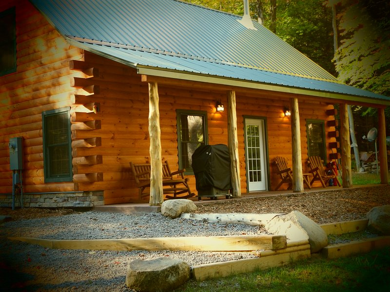 Porch overlooking Otter Creek Falls - Adirondack Waterfalls Cabin Bran new - Glenfield - rentals
