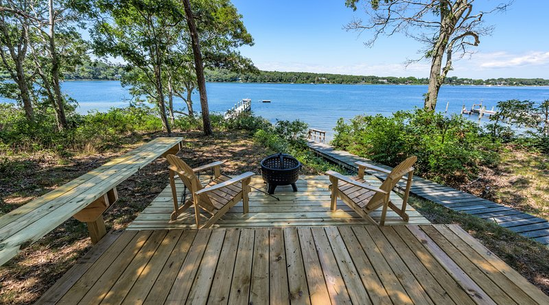 One of two decks this one waterside. - BRANP - Ferry Tickets July Weeks, Waterfront Home with Private Dock on Lagoon - Oak Bluffs - rentals