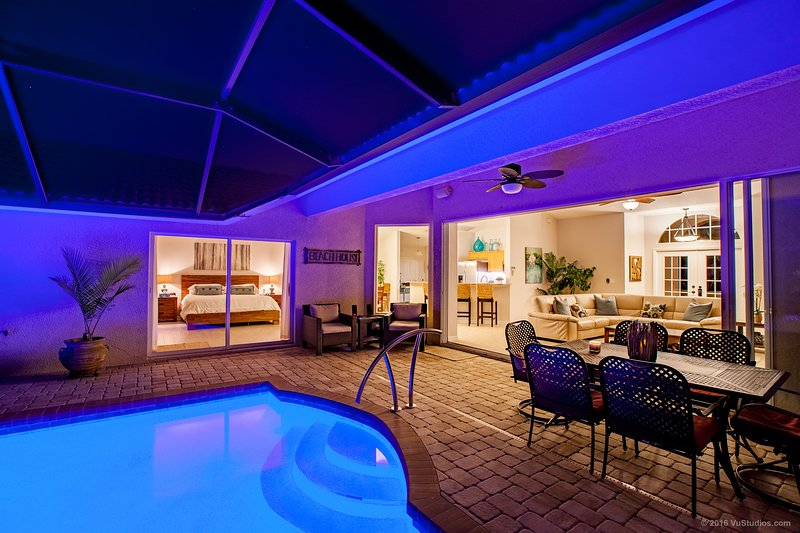 Enjoy fabulous evenings with a boutique style pool/spa area. Relax while enjoying tropical paradise - Modern Luxury Villa on Tropical Canal. - Naples - rentals