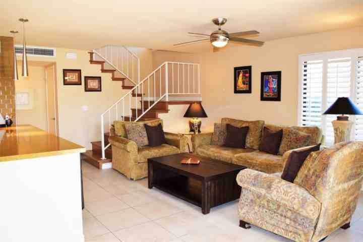 Comfy First floor living area is open to the kitchen and dining area - Steps from El Paseo -- Location! Style! Amenities!  Washer/Dryer - Palm Desert - rentals