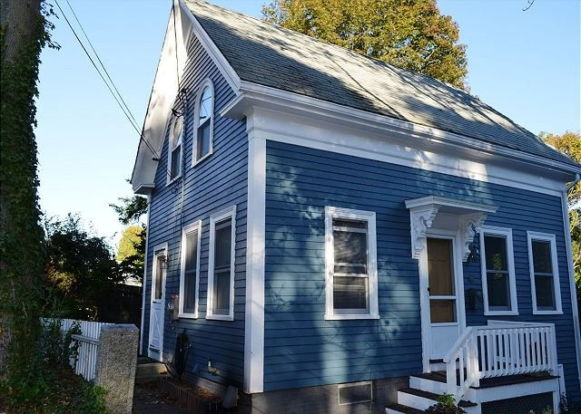 Front exterior. - Rockport Village House: 3 floors of bright and sunny living space - Rockport - rentals