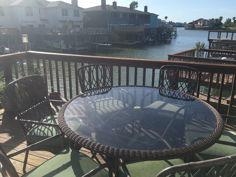 View from Deck/top patio - Boat is stored under deck.  Lower deck has more space and a fish cleaner. - The #1 Vacation Property - Gun Cay #1 - Book Your Summer Vacations NOW B4UR2L8 - Corpus Christi - rentals