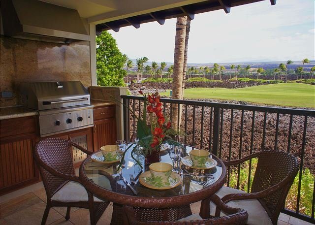Lanai with Golf Course Views - Golf Villas at Mauna Lani O22 includes AC and Great Golf Course Views! - Kamuela - rentals
