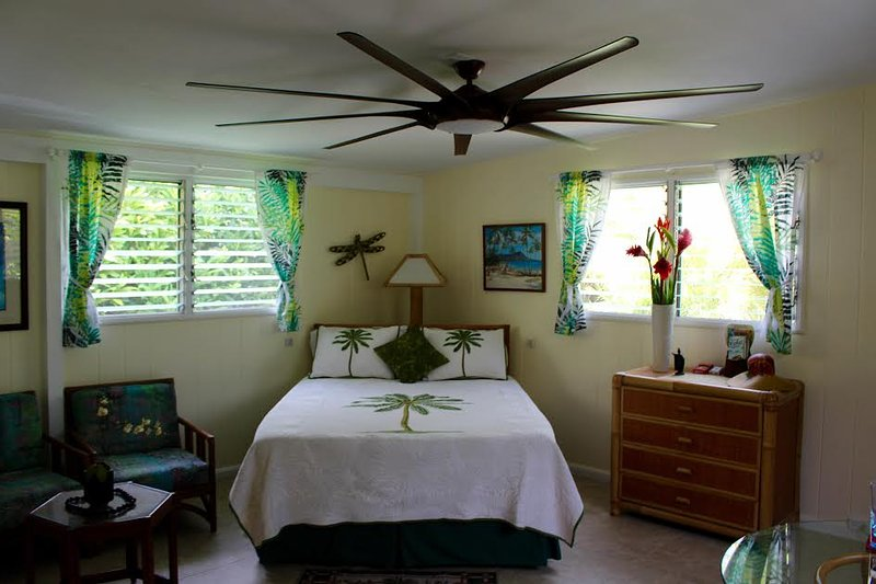 Spacious, clean, bright living area with queen size bed. - SUITE ALOHA – Remodeled, Romantic Island Retreat - Kailua - rentals