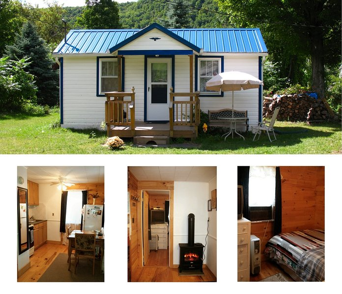 Preview (outside and inside view) - Catskill Bungalow, Tiny House, Cozy Getaway Cabin for 2 by Hunter and Windham - Windham - rentals