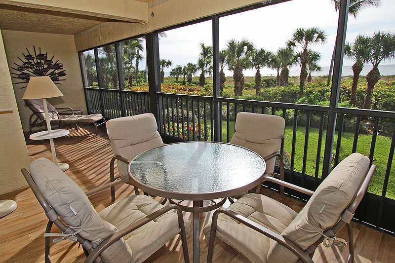Extra large lanai/porch overlooking the beach - 3BR/2BA Luxury Condo - Direct Gulf Front, Sanibel - Sanibel Island - rentals