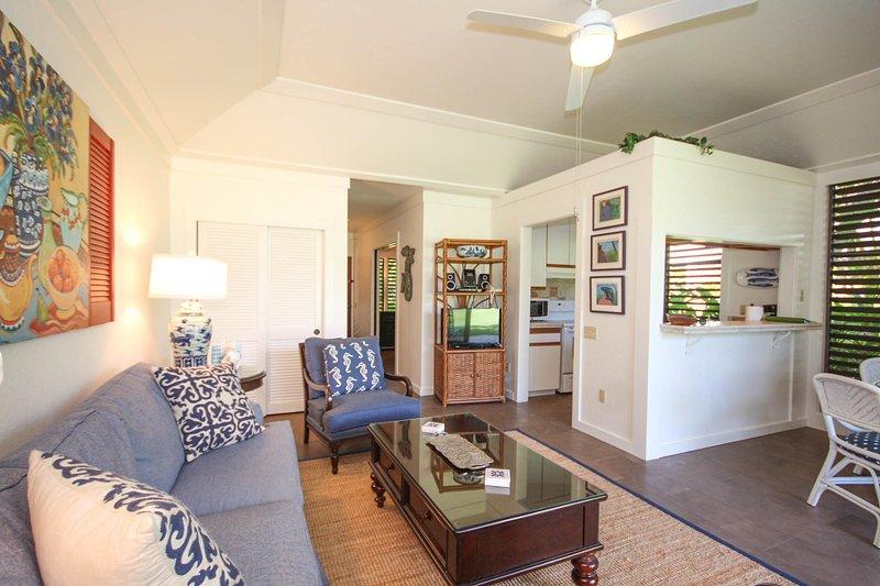 Living Room and Kitchen - Kiahuna 150-Lovely 1 bd short walk to awesome Poipu beaches. Free midsize car. - Poipu - rentals
