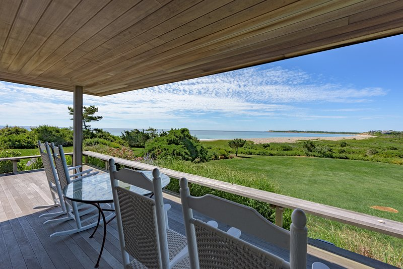 One of Multiple Decks with Sweeping Atlantic Ocean Views - JAFFJ - Ocean House, Waterfont Splendor, Private South Shore Beach - Chilmark - rentals