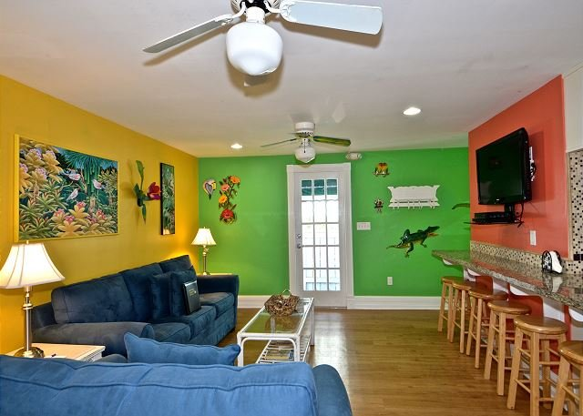 Living room includes large flat screen TV and queen sized pull out sleeper sofa - Almost Southernmost Too- The Perfect KW Rental- Pool & Sundeck-Steps to Duval - Key West - rentals
