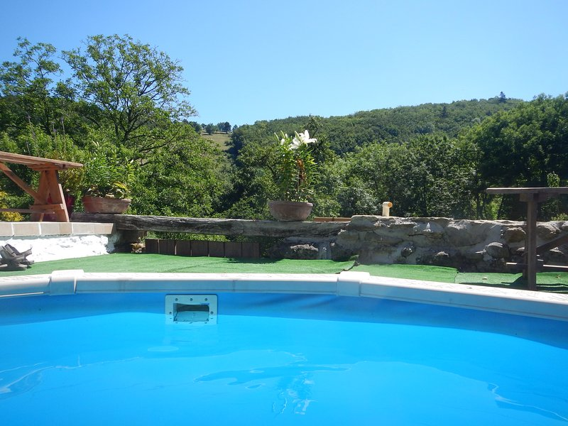The view of the valley from end of the pool  - Pretty stone cottage, woodland view, garden & heated pool - Saint-Benoit - rentals