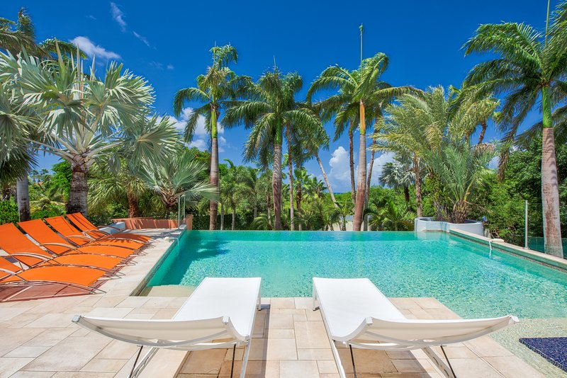 Villa Blue Palm, a 5BR vacation rental on Plum Baie, Terres Basses, St Martin 800 480 8555 - BLUE PALM... WOW!! Fabulous contemporary villa just 100 steps to beautiful Plum Baie beach + Full AC, Tennis & Gym!! - Plum Bay - rentals