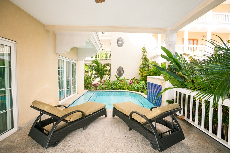 View of the private plunge pool from our covered patio - Lawson Rock - Lionfish 108 - Sandy Bay - rentals