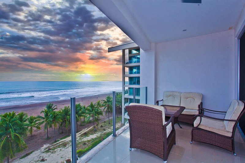 Amazing sunset from private balcony - Diamante del Sol 603S 6th Floor Ocean View - Jaco - rentals