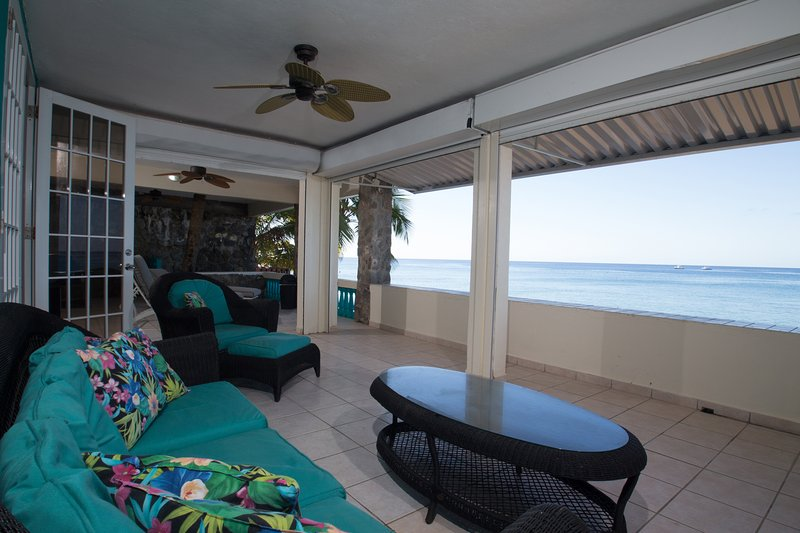 Oceanfront Patio - Sunset Paradise Beachfront Villas: Villa 1 Lower - Rincon - rentals