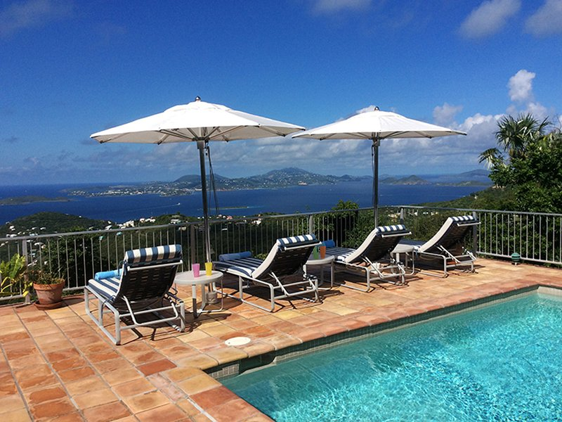 Expansive ocean views from Pool Deck - Palm Villa - Cruz Bay - rentals