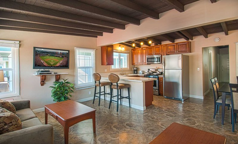 Inside photo showing the kitchen and family room area - 108 A 28th Street - Newport Beach - rentals